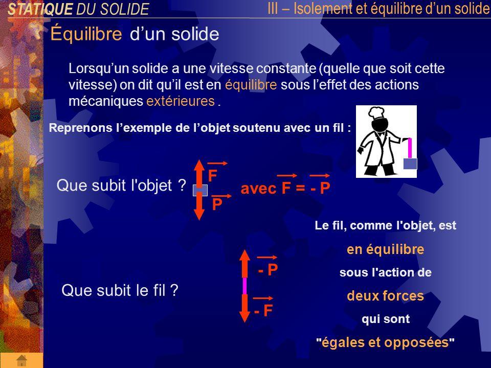 STATIQUE DU SOLIDE III – Isolement et équilibre dun solide Équilibre dun solide 1 ere condition dEQUILIBRE d un solide : La somme des FORCES EXTERIEURES appliquées à un solide en équilibre est NULLE « Théorème des FORCES » S = F 1 + F 2 +...+ F n = 0