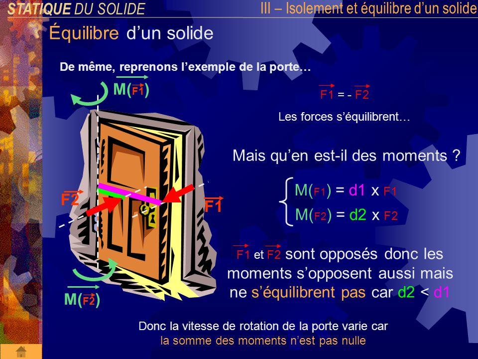 STATIQUE DU SOLIDE III – Isolement et équilibre dun solide Équilibre dun solide 2 eme condition dEQUILIBRE d un solide La somme des MOMENTS DES FORCES EXTERIEURES appliqués à un solide en équilibre est NULLE « Théorème des MOMENTS » M /A =M /A(F1) + M /A(F2) +...+ M /A(Fn) = 0