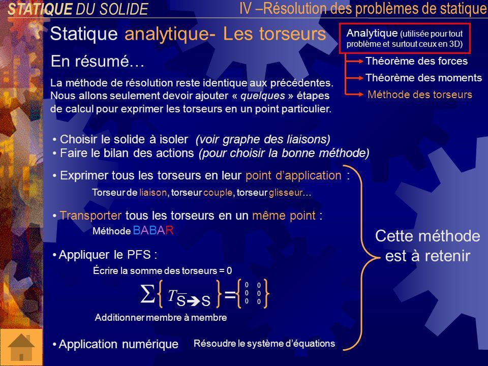 x z y STATIQUE DU SOLIDE IV –Résolution des problèmes de statique Statique plane Quest-ce quun problème plan .