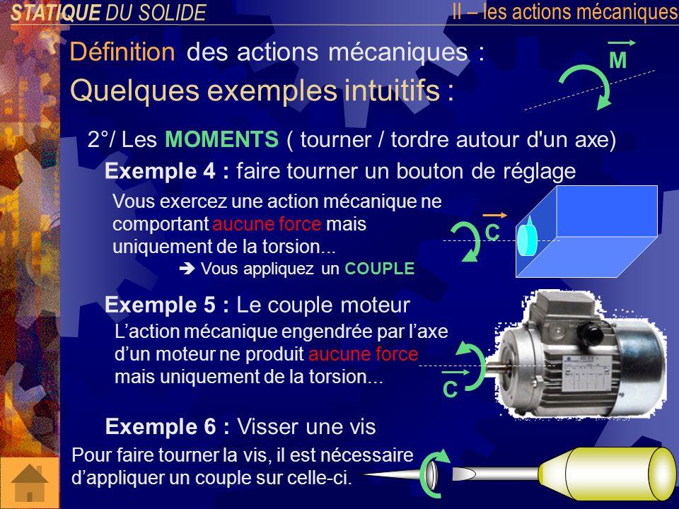 STATIQUE DU SOLIDE II – les actions mécaniques Modélisation des actions mécaniques : Pour les FORCES ( représentées par une simple flèche) Les MOMENTS ( représentés par une double flèche) Elles sexpriment en NEWTON (N) Ils sexpriment en NEWTON mètre (Nm) Les actions mécaniques sont modélisées par des vecteurs car elles en possèdent toutes les propriétés : (point dapplication, direction, sens, norme) F M Elles sont notées F A 1 2, ou bien A 1 2, ce qui se lit : « Force au point A exercée par le solide 1 sur le solide 2 » Ils sont notés M B ( A 1 2), ce qui se lit : « Moment par rapport au point B de leffort exercé en A par le solide 1 sur le solide 2 »