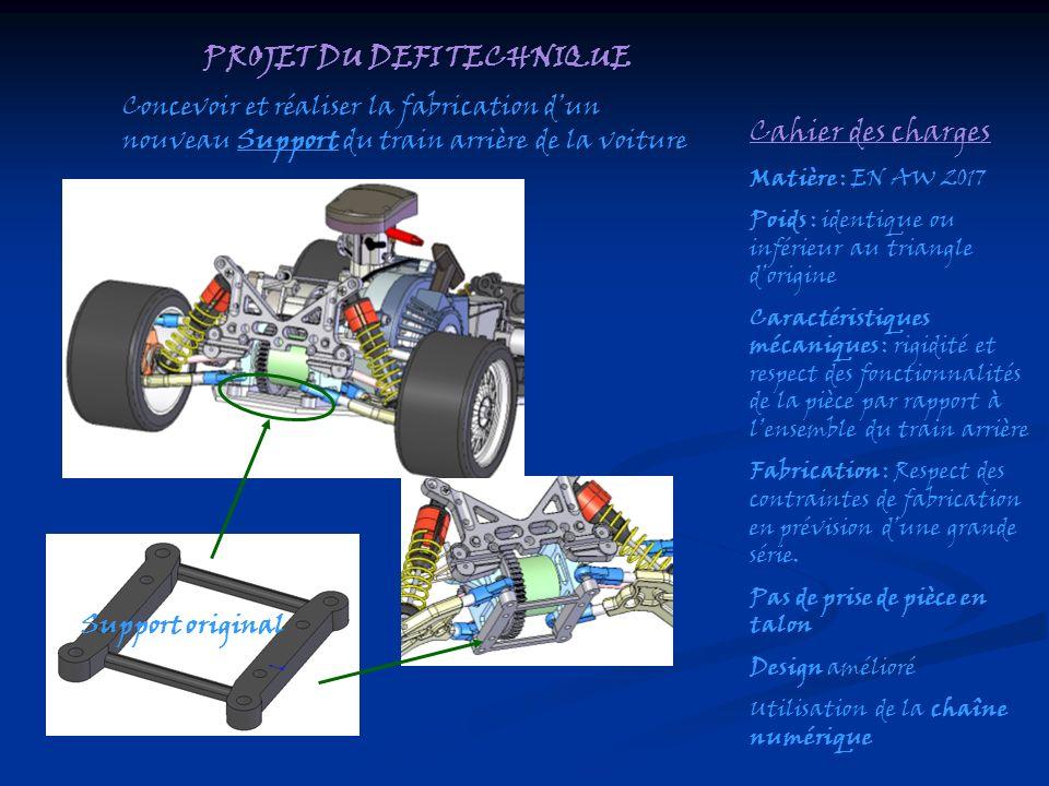 PROJET DU DEFI TECHNIQUE Concevoir et réaliser la fabrication dun nouveau Support du train arrière de la voiture Cahier des charges Matière : EN AW 20