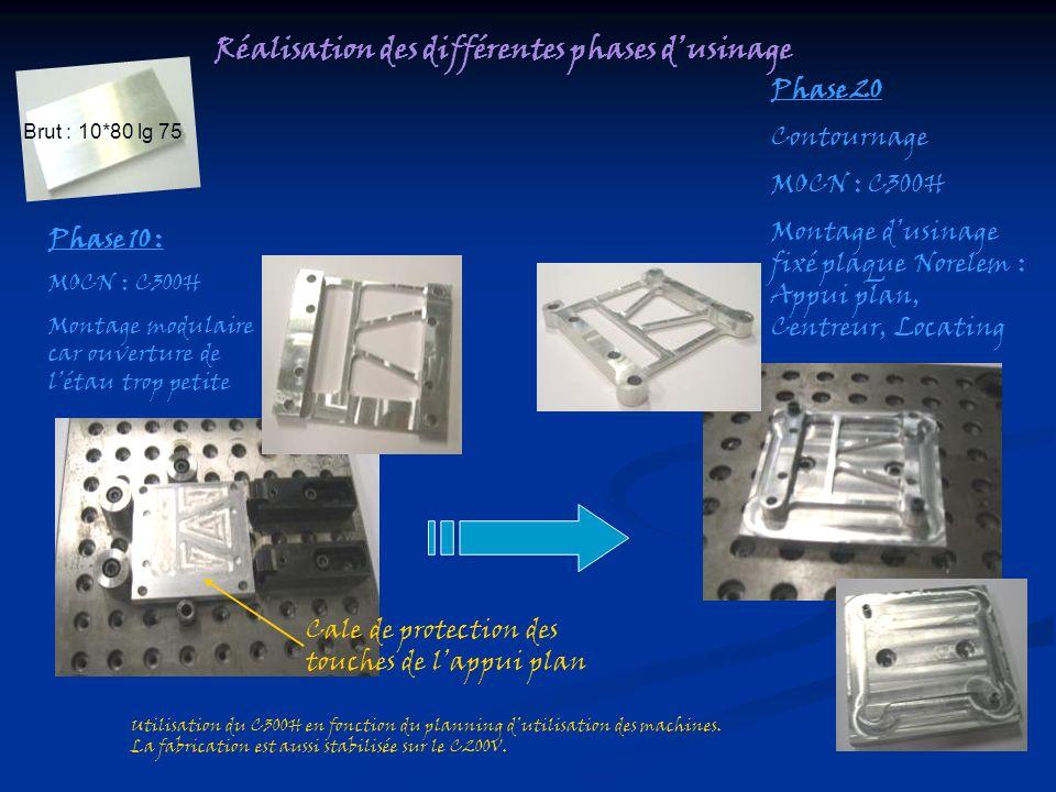 Réalisation des différentes phases dusinage Brut : 10*80 lg 75 Phase 10 : MOCN : C300H Montage modulaire car ouverture de létau trop petite Phase 20 C