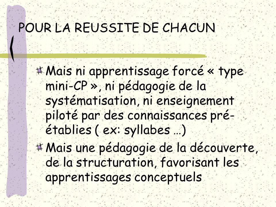 POUR LA REUSSITE DE CHACUN Mais ni apprentissage forcé « type mini-CP », ni pédagogie de la systématisation, ni enseignement piloté par des connaissan