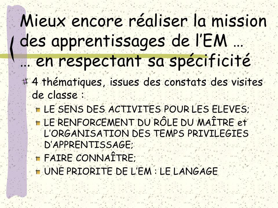 Mieux encore réaliser la mission des apprentissages de lEM … … en respectant sa spécificité 4 thématiques, issues des constats des visites de classe :