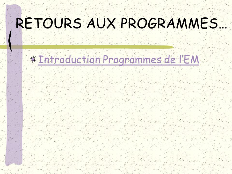 RETOURS AUX PROGRAMMES… Introduction Programmes de lEM