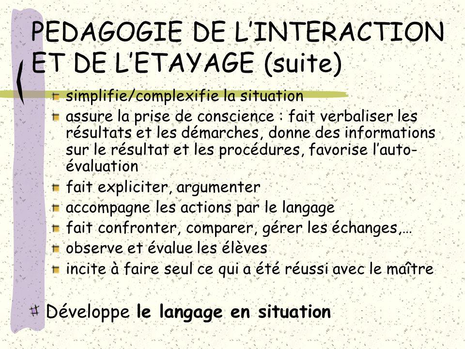 PEDAGOGIE DE LINTERACTION ET DE LETAYAGE (suite) simplifie/complexifie la situation assure la prise de conscience : fait verbaliser les résultats et l