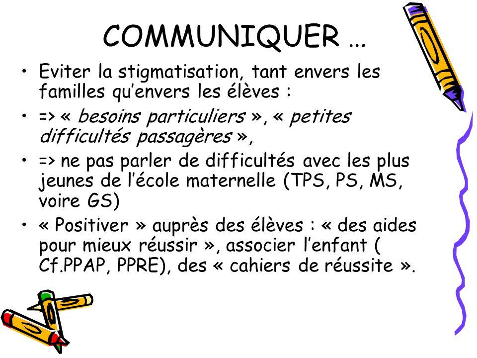 COMMUNIQUER … Eviter la stigmatisation, tant envers les familles quenvers les élèves : => « besoins particuliers », « petites difficultés passagères »