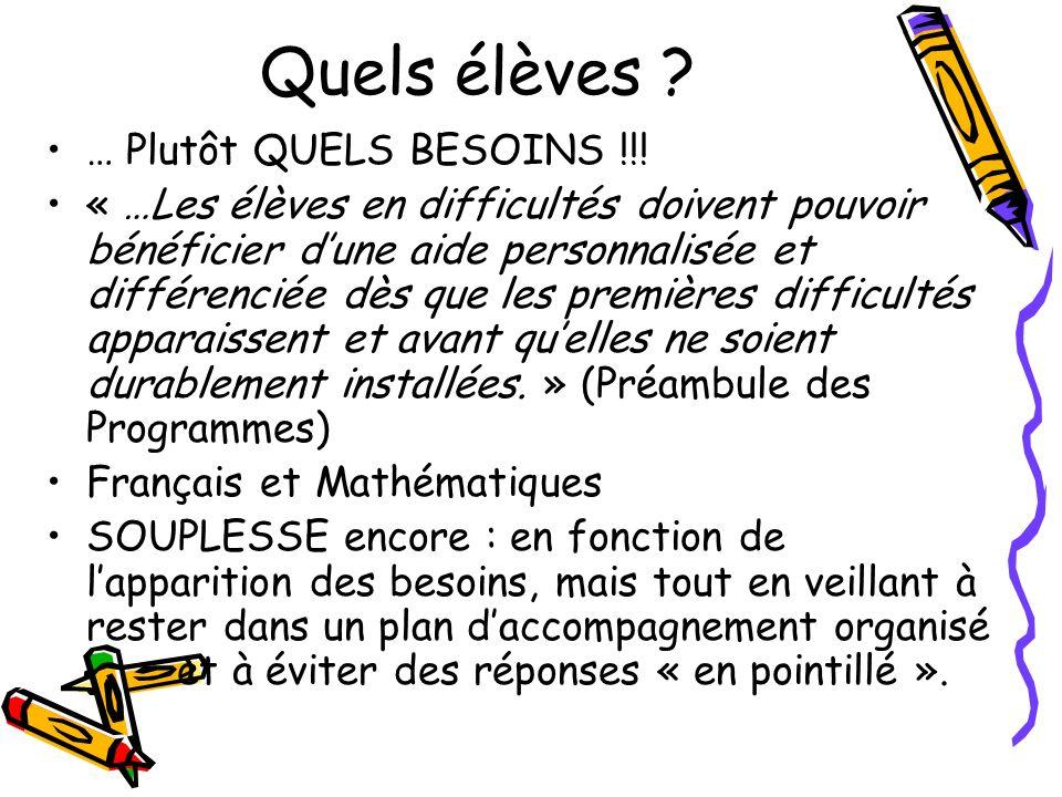 Quels élèves ? … Plutôt QUELS BESOINS !!! « …Les élèves en difficultés doivent pouvoir bénéficier dune aide personnalisée et différenciée dès que les