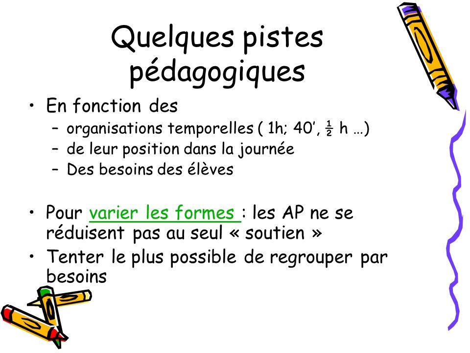 Quelques pistes pédagogiques En fonction des –organisations temporelles ( 1h; 40, ½ h …) –de leur position dans la journée –Des besoins des élèves Pou