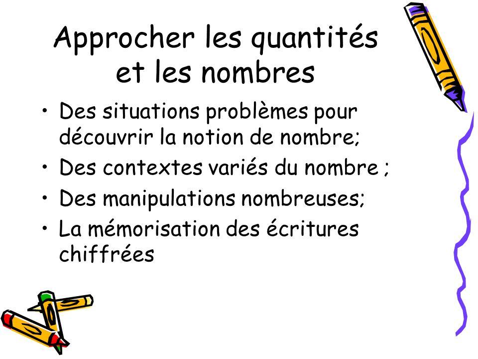 Approcher les quantités et les nombres Des situations problèmes pour découvrir la notion de nombre; Des contextes variés du nombre ; Des manipulations nombreuses; La mémorisation des écritures chiffrées