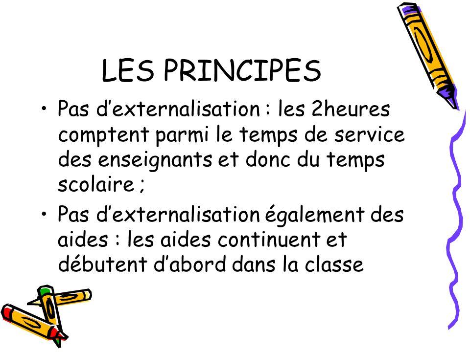 LES PRINCIPES Pas dexternalisation : les 2heures comptent parmi le temps de service des enseignants et donc du temps scolaire ; Pas dexternalisation également des aides : les aides continuent et débutent dabord dans la classe