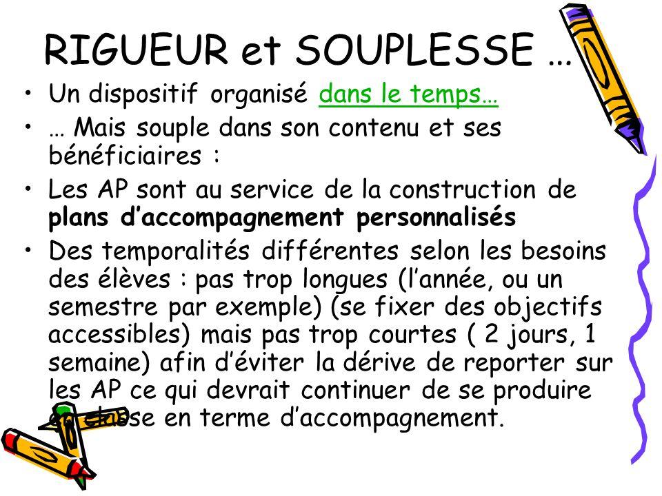 RIGUEUR et SOUPLESSE … Un dispositif organisé dans le temps…dans le temps… … Mais souple dans son contenu et ses bénéficiaires : Les AP sont au servic