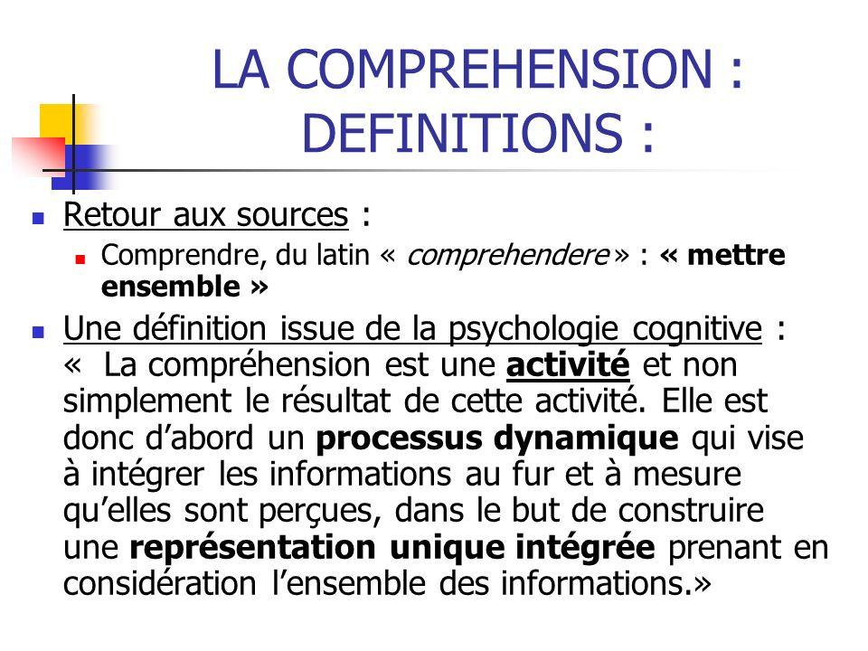 LA COMPREHENSION : DEFINITIONS : Retour aux sources : Comprendre, du latin « comprehendere » : « mettre ensemble » Une définition issue de la psycholo