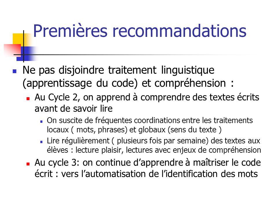 Premières recommandations Ne pas disjoindre traitement linguistique (apprentissage du code) et compréhension : Au Cycle 2, on apprend à comprendre des