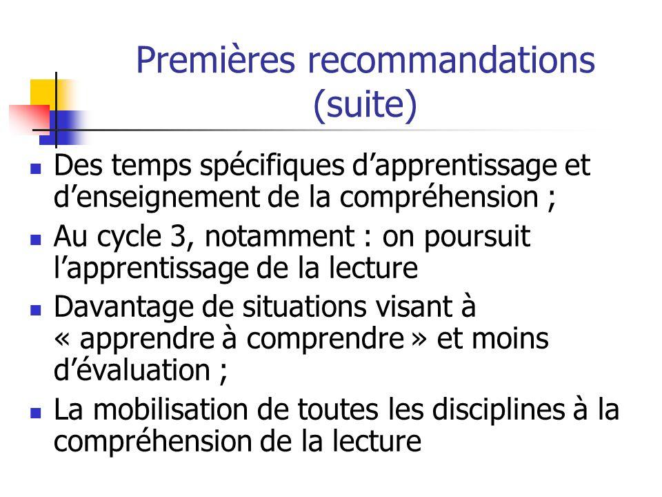 Premières recommandations (suite) Des temps spécifiques dapprentissage et denseignement de la compréhension ; Au cycle 3, notamment : on poursuit lapp