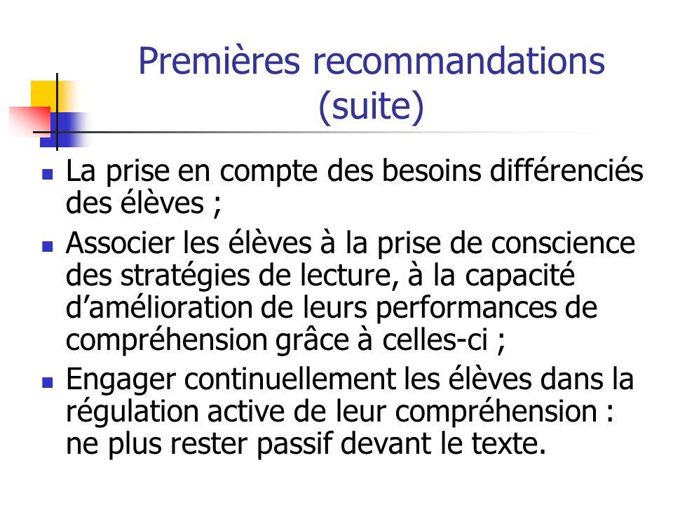 Premières recommandations (suite) La prise en compte des besoins différenciés des élèves ; Associer les élèves à la prise de conscience des stratégies