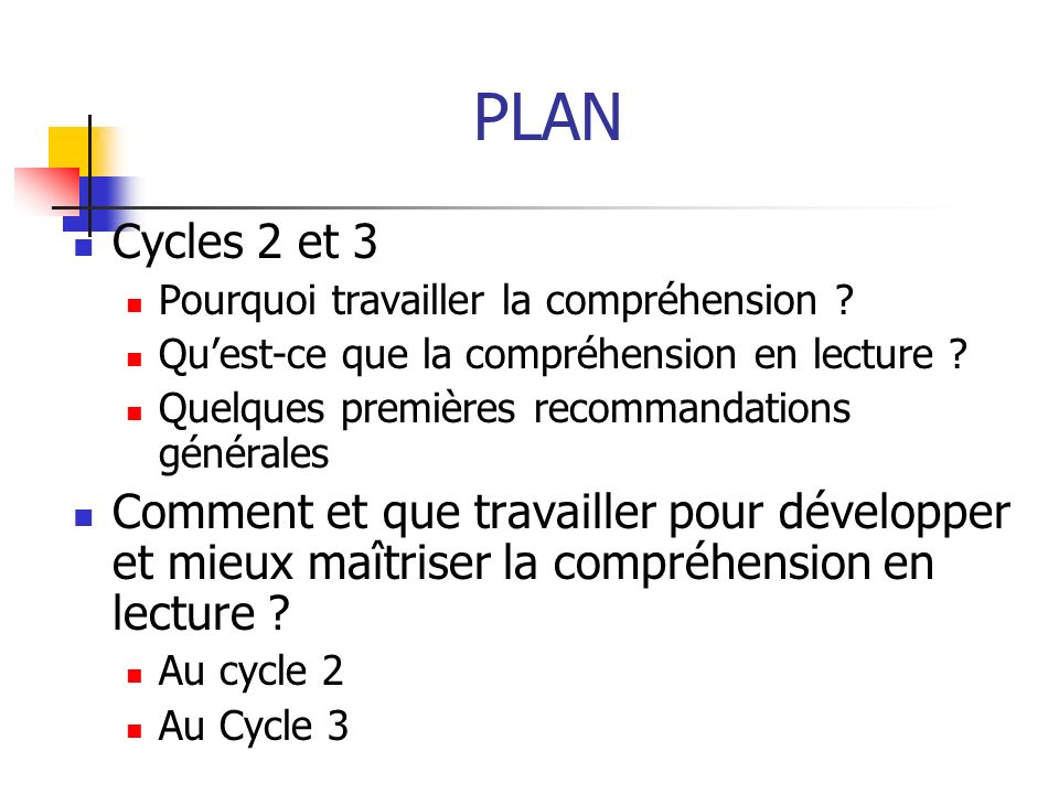 PLAN Cycles 2 et 3 Pourquoi travailler la compréhension ? Quest-ce que la compréhension en lecture ? Quelques premières recommandations générales Comm