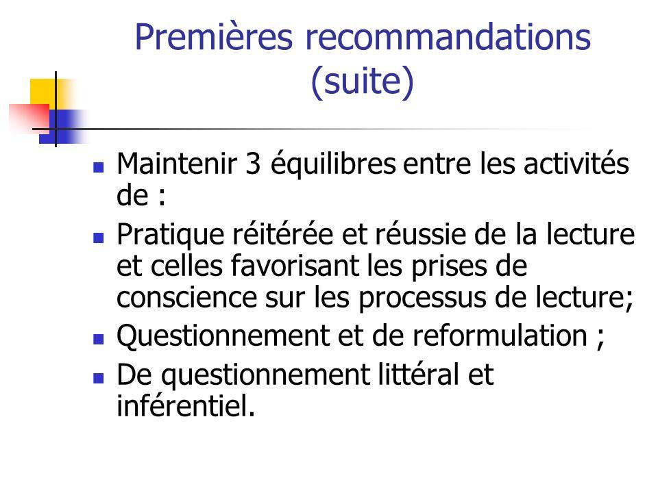 Premières recommandations (suite) Maintenir 3 équilibres entre les activités de : Pratique réitérée et réussie de la lecture et celles favorisant les