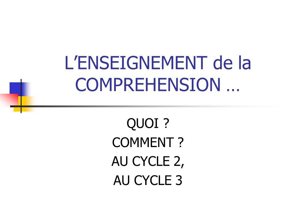 LENSEIGNEMENT de la COMPREHENSION … QUOI ? COMMENT ? AU CYCLE 2, AU CYCLE 3