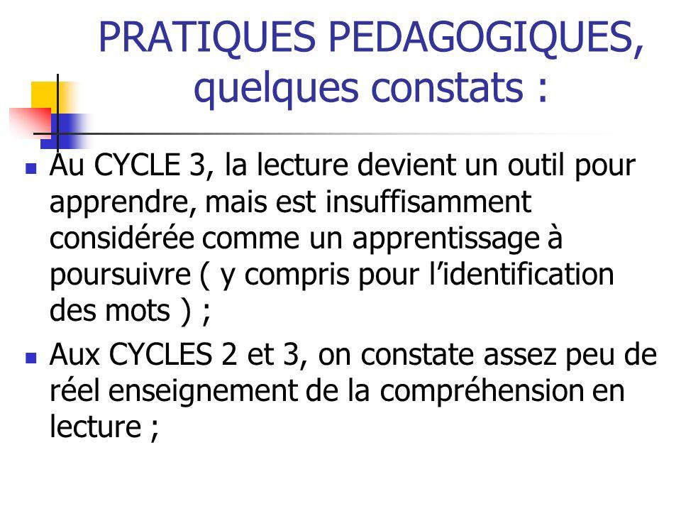 PRATIQUES PEDAGOGIQUES, quelques constats : Au CYCLE 3, la lecture devient un outil pour apprendre, mais est insuffisamment considérée comme un appren