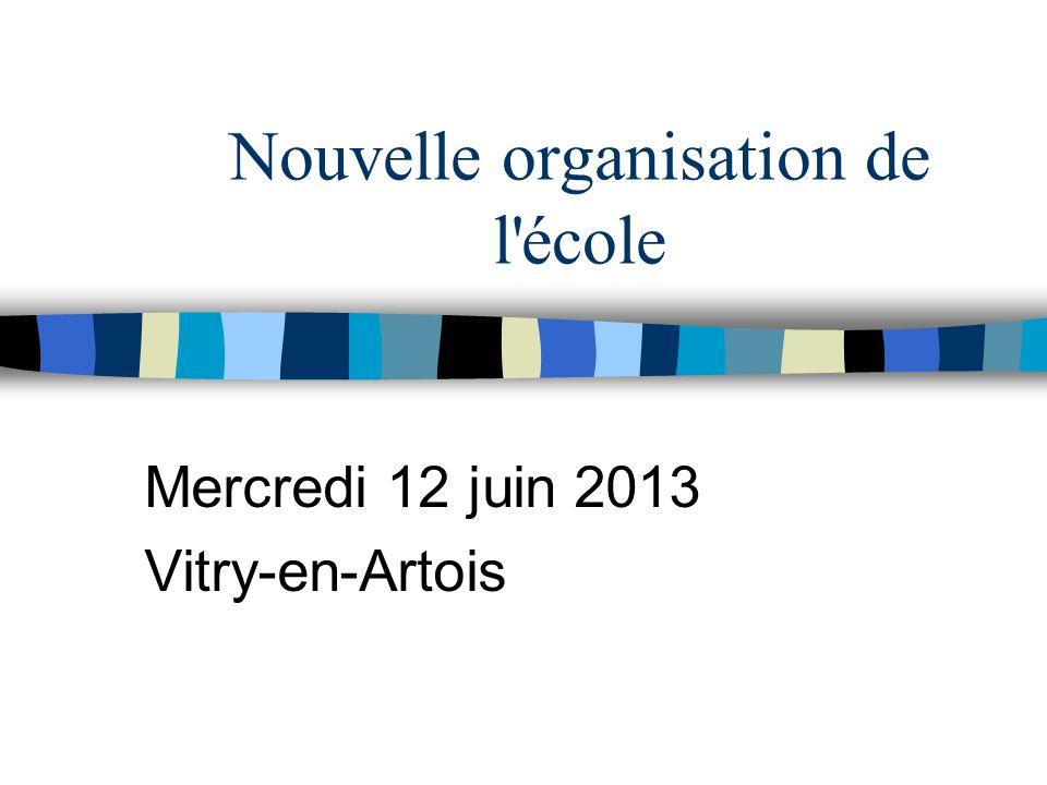 Nouvelle organisation de l'école Mercredi 12 juin 2013 Vitry-en-Artois