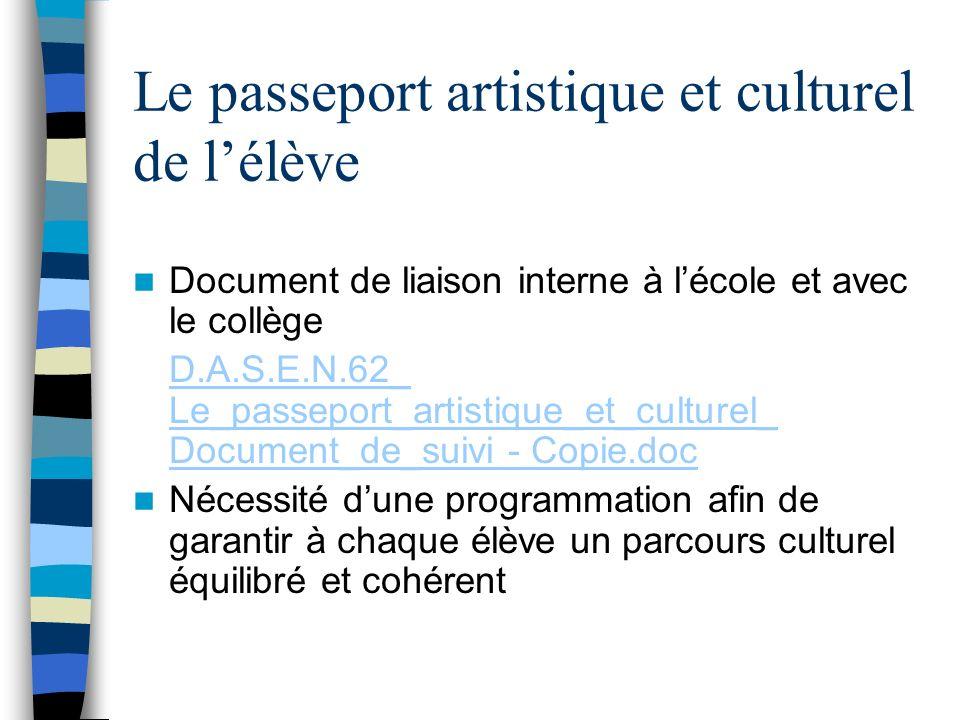 Le passeport artistique et culturel de lélève Document de liaison interne à lécole et avec le collège D.A.S.E.N.62_ Le_passeport_artistique_et_culture