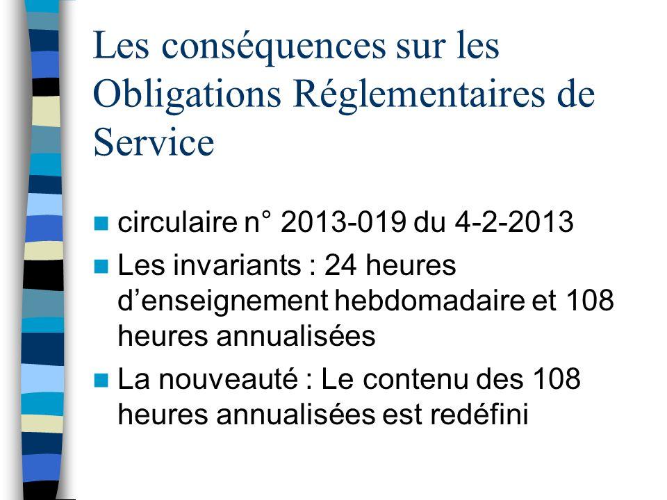Les conséquences sur les Obligations Réglementaires de Service circulaire n° 2013-019 du 4-2-2013 Les invariants : 24 heures denseignement hebdomadair