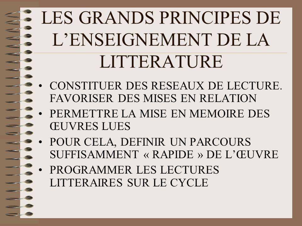 LES GRANDS PRINCIPES DE LENSEIGNEMENT DE LA LITTERATURE CONSTITUER DES RESEAUX DE LECTURE. FAVORISER DES MISES EN RELATION PERMETTRE LA MISE EN MEMOIR