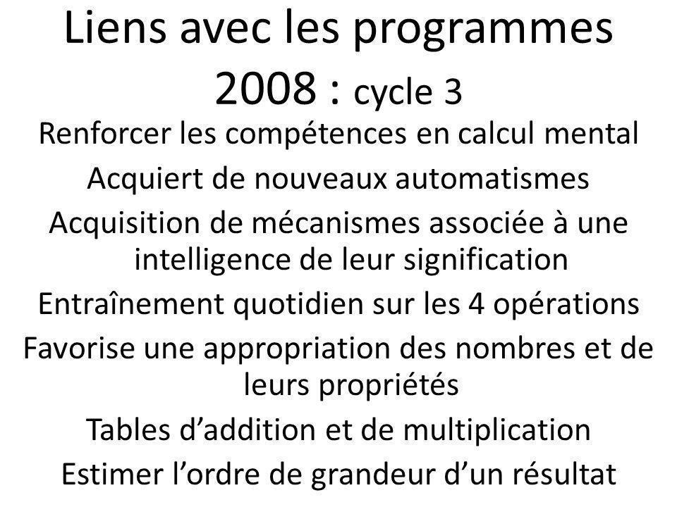 Liens avec les programmes 2008 : cycle 3 Renforcer les compétences en calcul mental Acquiert de nouveaux automatismes Acquisition de mécanismes associ