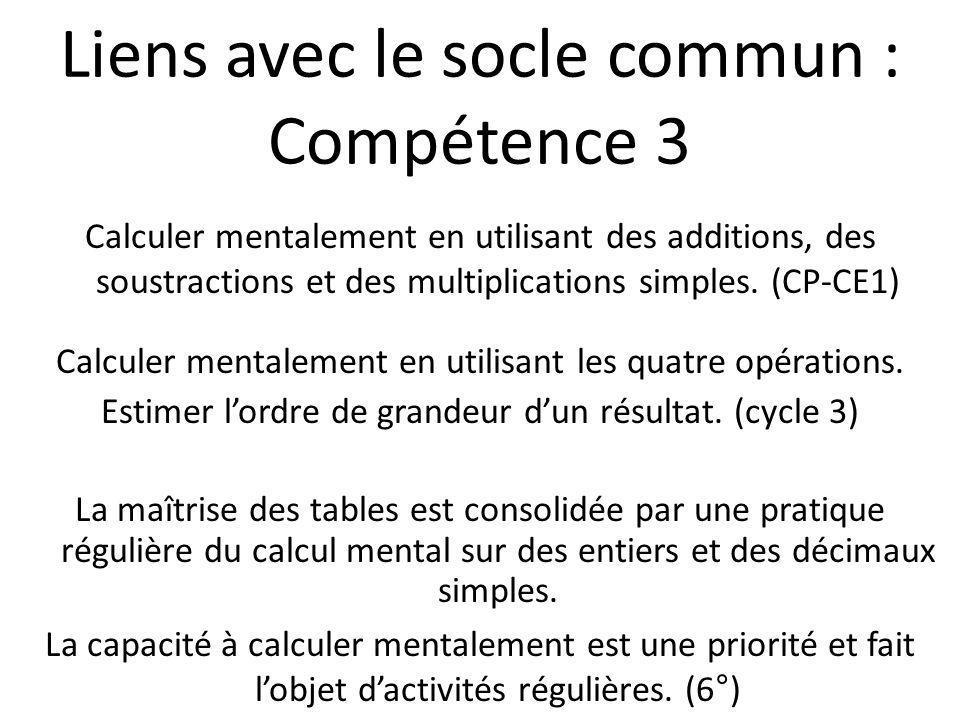 Calculer mentalement en utilisant des additions, des soustractions et des multiplications simples. (CP-CE1) Calculer mentalement en utilisant les quat