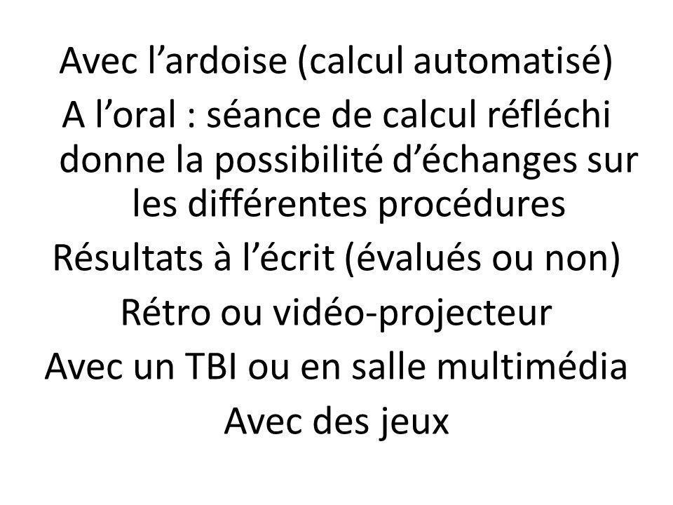 Avec lardoise (calcul automatisé) A loral : séance de calcul réfléchi donne la possibilité déchanges sur les différentes procédures Résultats à lécrit