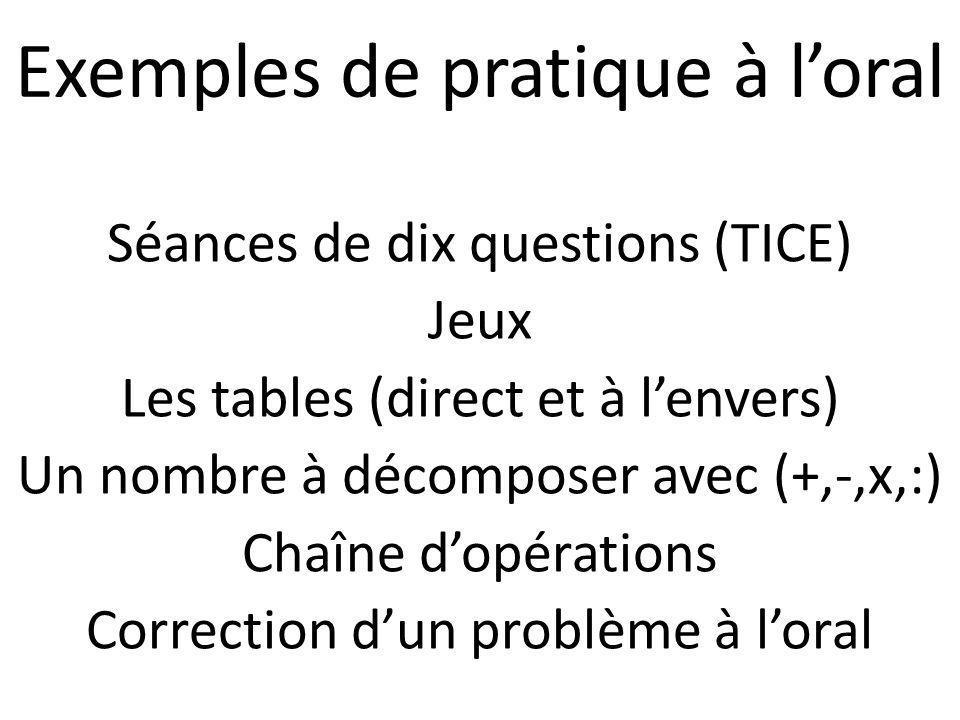 Séances de dix questions (TICE) Jeux Les tables (direct et à lenvers) Un nombre à décomposer avec (+,-,x,:) Chaîne dopérations Correction dun problème