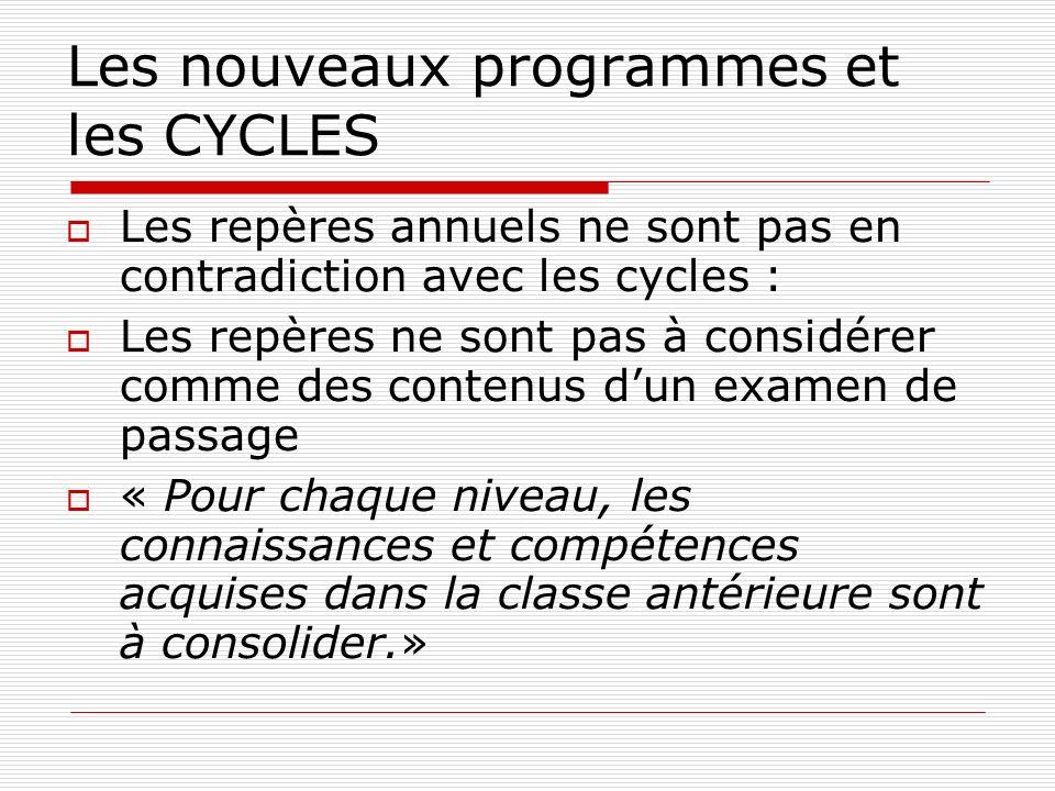 Les nouveaux programmes et les CYCLES Les repères annuels ne sont pas en contradiction avec les cycles : Les repères ne sont pas à considérer comme de