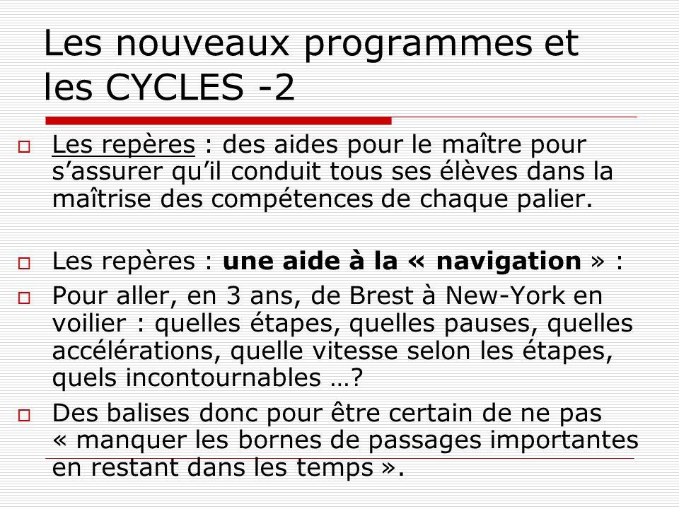 Les nouveaux programmes et les CYCLES -2 Les repères : des aides pour le maître pour sassurer quil conduit tous ses élèves dans la maîtrise des compét