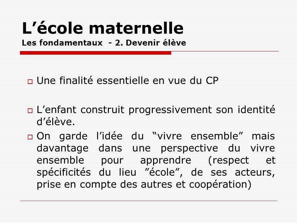 Lécole maternelle Les fondamentaux - 2. Devenir élève Une finalité essentielle en vue du CP Lenfant construit progressivement son identité délève. On