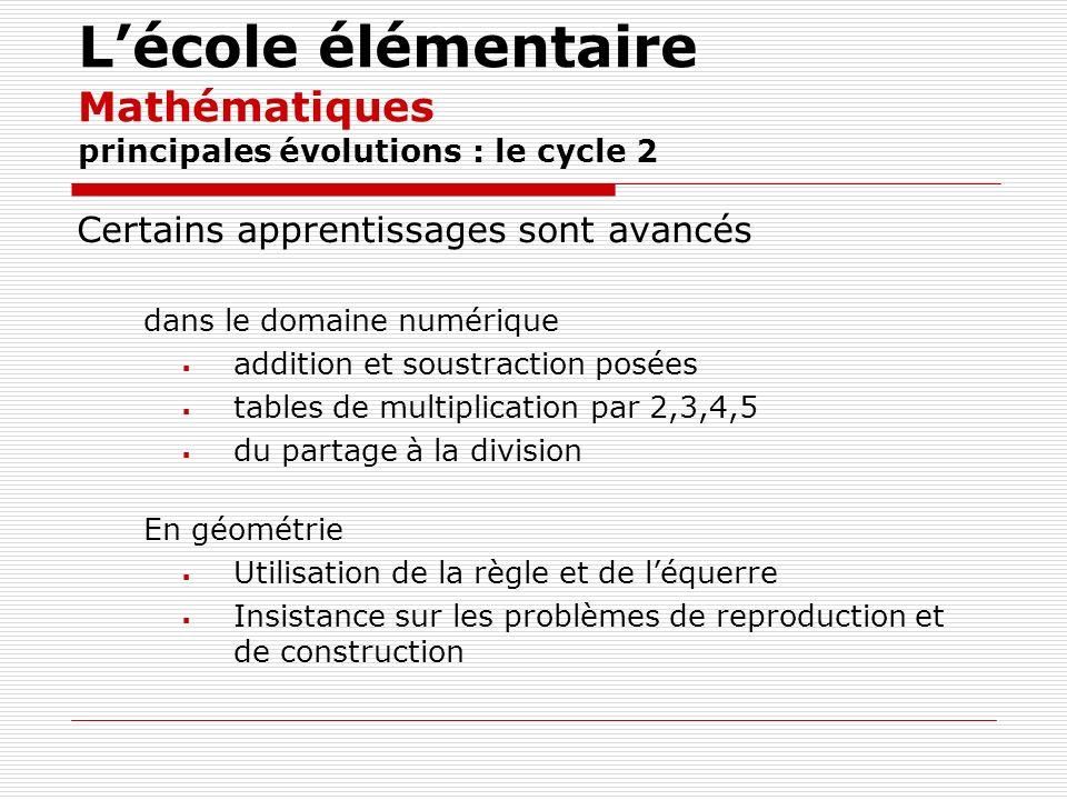 Lécole élémentaire Mathématiques principales évolutions : le cycle 2 Certains apprentissages sont avancés dans le domaine numérique addition et soustr