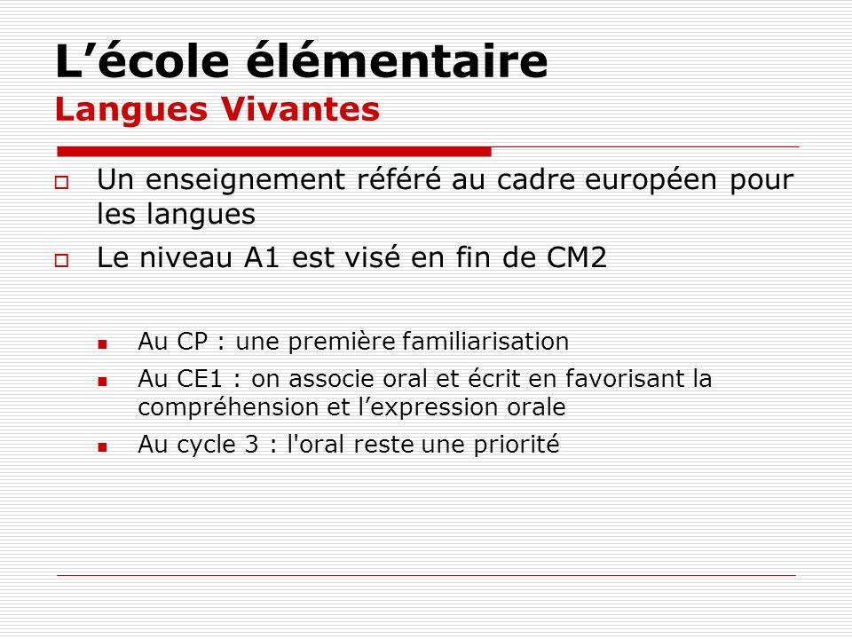 Lécole élémentaire Langues Vivantes Un enseignement référé au cadre européen pour les langues Le niveau A1 est visé en fin de CM2 Au CP : une première