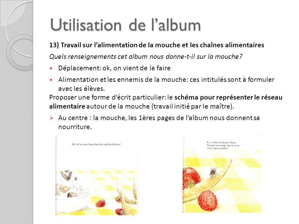 Utilisation de lalbum 13) Travail sur lalimentation de la mouche et les chaînes alimentaires Quels renseignements cet album nous donne-t-il sur la mou