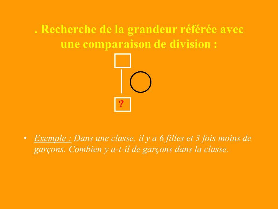 Recherche de la grandeur référée avec une comparaison multiplicative : Exemple : Dans une classe, il y a 6 filles et 3 fois plus de garçons. Combien y