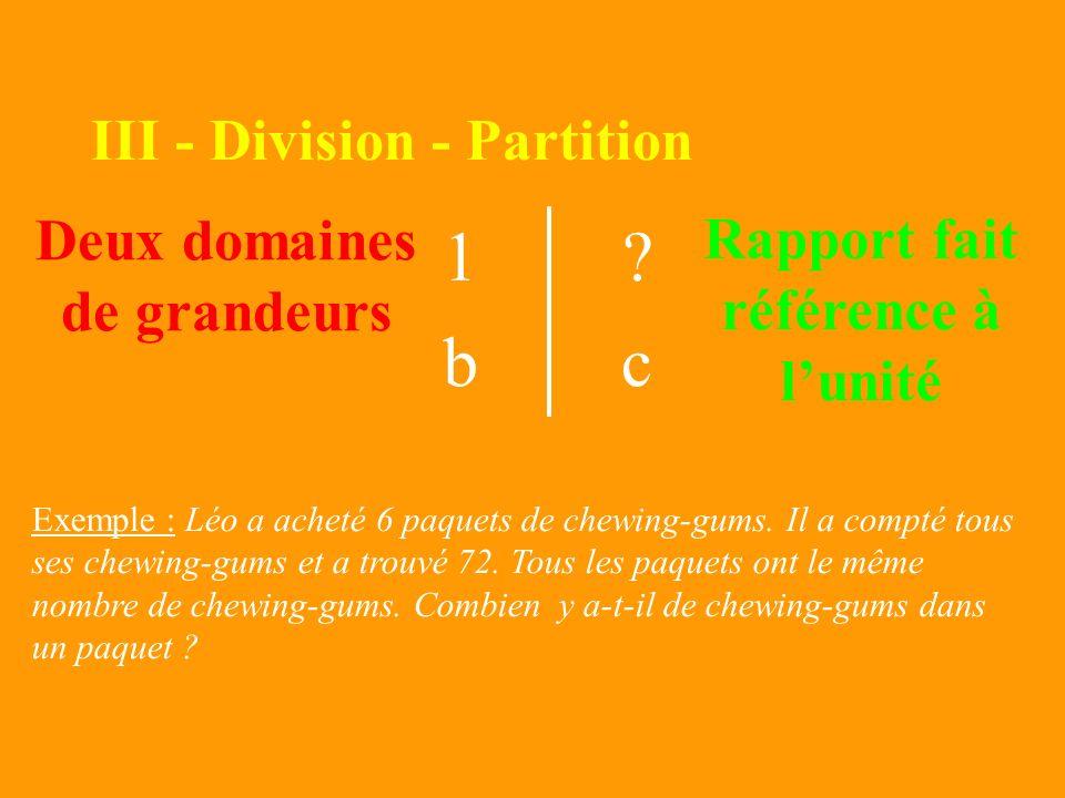 II – Multiplication 1a b? Deux domaines de grandeurs Rapport fait référence à lunité Deux domaines de grandeurs 1a b? 1a b? 1a b? 1a b? 1a b? 1a b? Ex