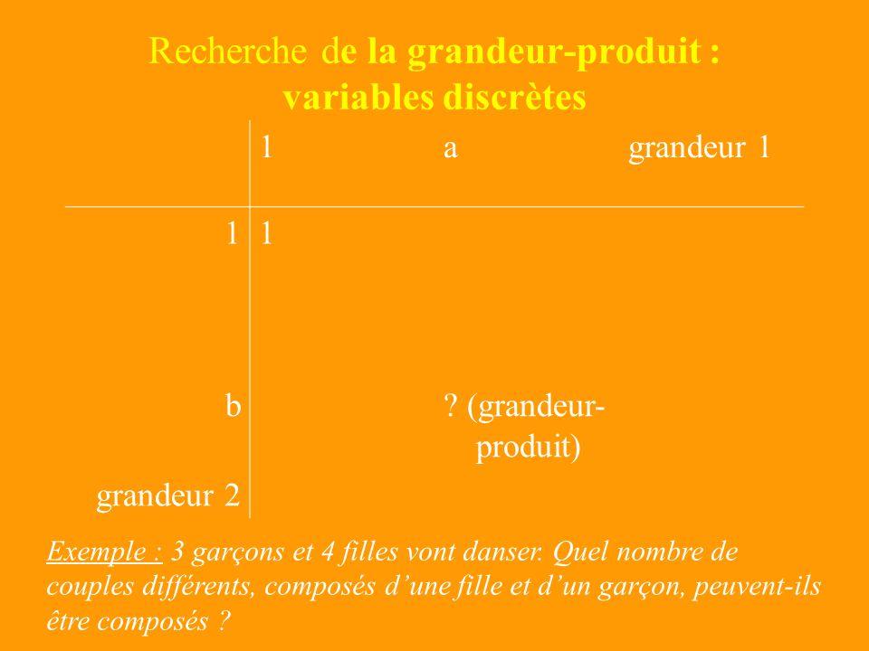 V – Produit Cartésien Trois domaines de grandeurs 1agrandeur 1 11 bc (grandeur- produit) grandeur 2