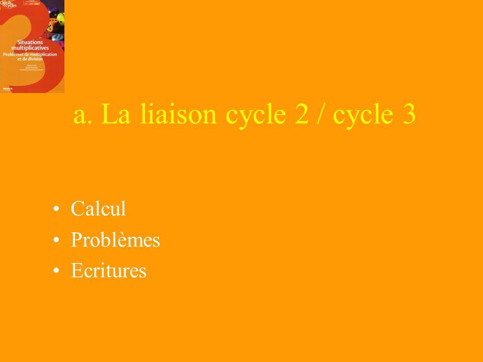 2. Les contraintes des programmes a. La liaison cycle 2 – cycle 3 b. La liaison socle commun - progressions