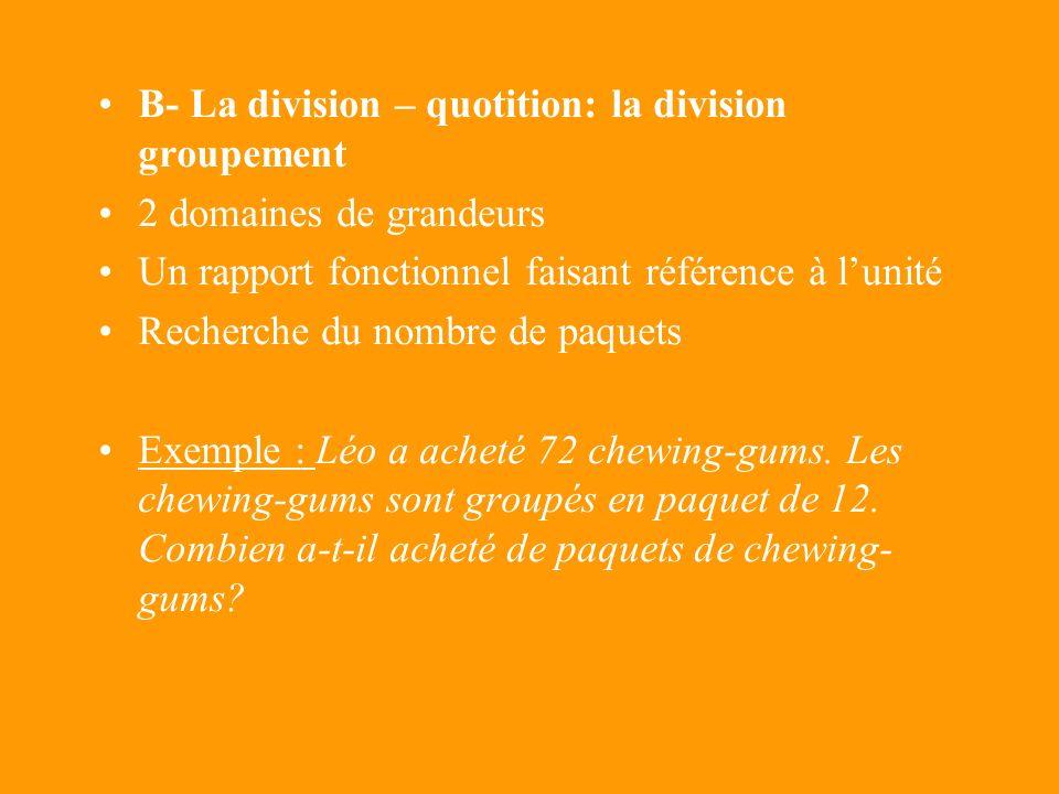 A- La division – partition: la division partage 2 domaines de grandeurs Un rapport fonctionnel faisant référence à lunité Recherche du nombre délément