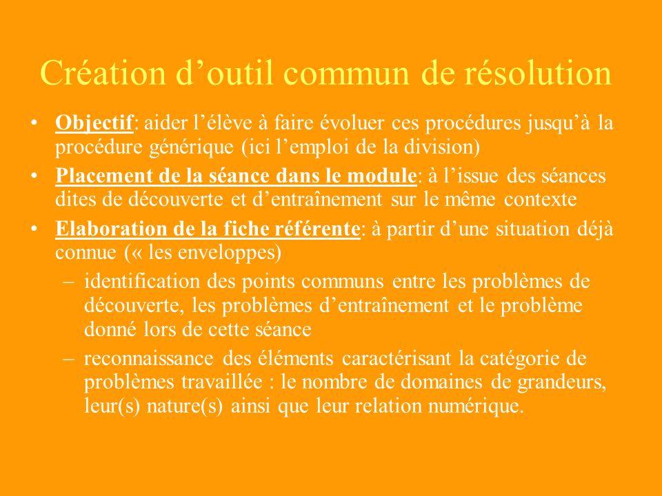 Problèmes de la même classe de problèmes que ceux proposés dans la situation de découverte - 2 temps dentraînement dans le module - Contexte connu (ic