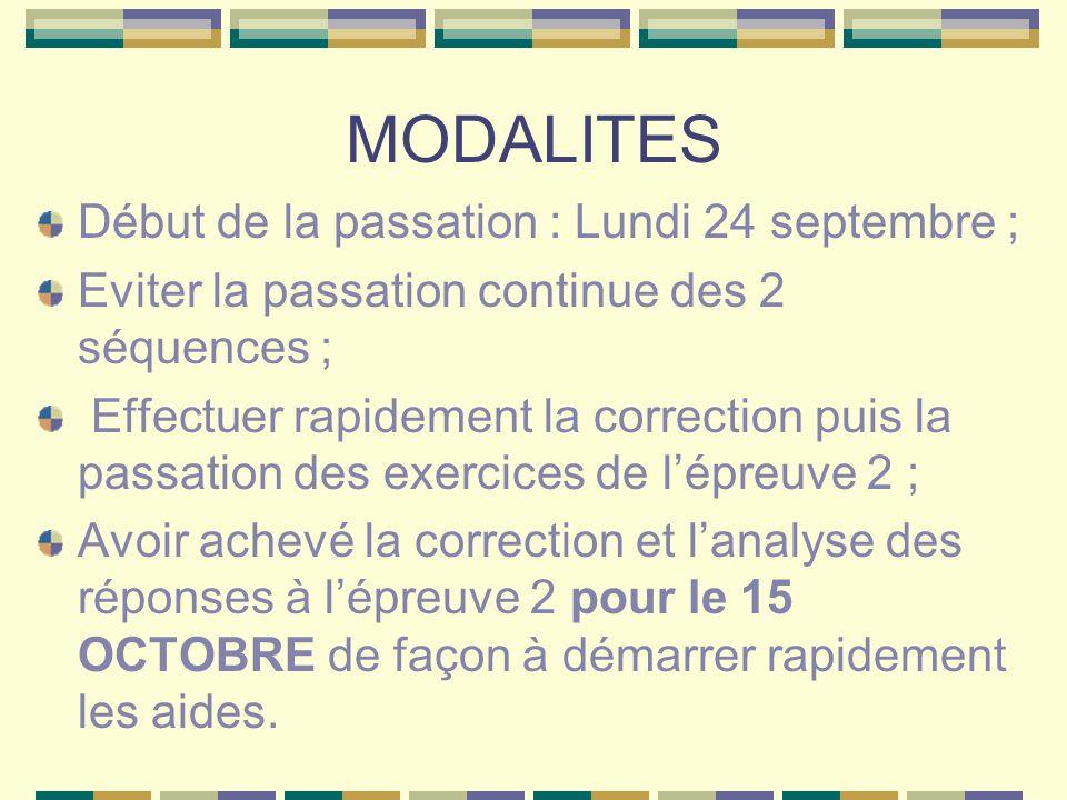 MODALITES Début de la passation : Lundi 24 septembre ; Eviter la passation continue des 2 séquences ; Effectuer rapidement la correction puis la passa