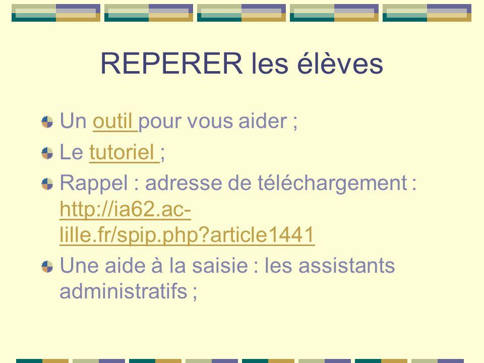 REPERER les élèves Un outil pour vous aider ;outil Le tutoriel ;tutoriel Rappel : adresse de téléchargement : http://ia62.ac- lille.fr/spip.php article1441 http://ia62.ac- lille.fr/spip.php article1441 Une aide à la saisie : les assistants administratifs ;