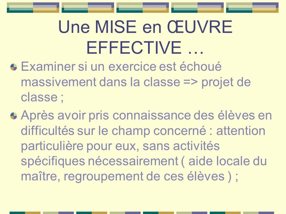 Une MISE en ŒUVRE EFFECTIVE … Examiner si un exercice est échoué massivement dans la classe => projet de classe ; Après avoir pris connaissance des él