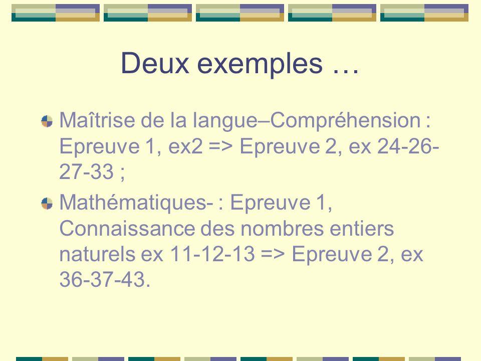 Deux exemples … Maîtrise de la langue–Compréhension : Epreuve 1, ex2 => Epreuve 2, ex 24-26- 27-33 ; Mathématiques- : Epreuve 1, Connaissance des nomb