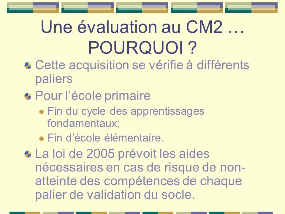 Une évaluation au CM2 … POURQUOI ? Cette acquisition se vérifie à différents paliers Pour lécole primaire Fin du cycle des apprentissages fondamentaux