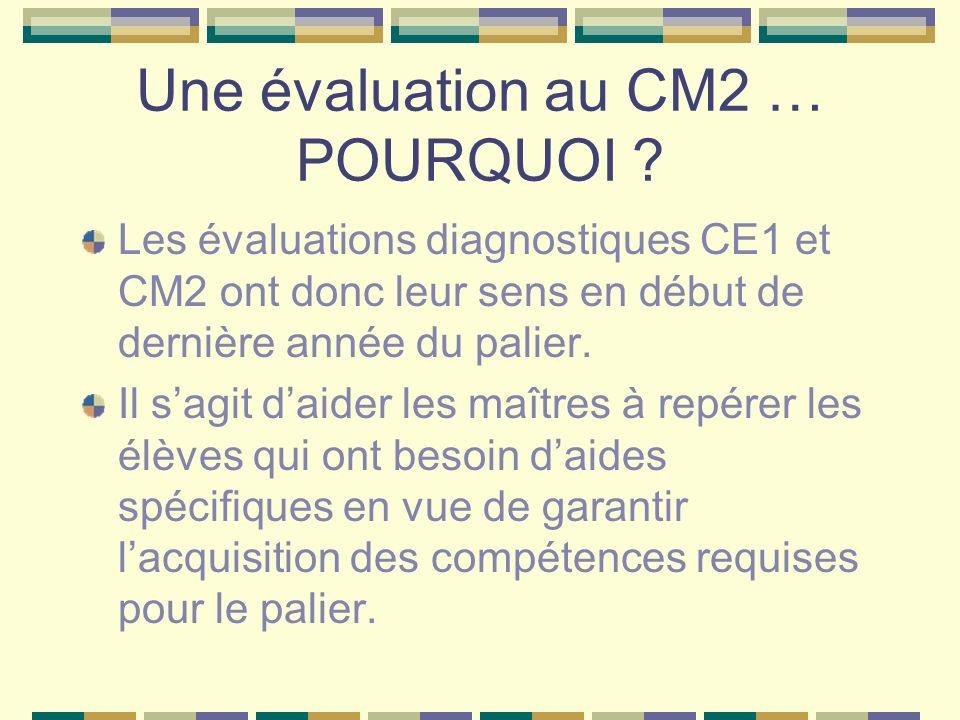 Une évaluation au CM2 … POURQUOI ? Les évaluations diagnostiques CE1 et CM2 ont donc leur sens en début de dernière année du palier. Il sagit daider l